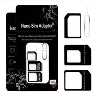 Wholesale Nano Sim Card Micro - Noosy Nano Sim Card Adapters Micro Converter 4 in 1 Set Kit Eject Pin Pick for Cell Phone Android iPhone 4 5 6 7 Black White Retail Box