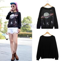 O-Neck outer space shirt - New hot Women Harajuku Saturn Outer space Sweatshirt Shirt Crew Neck T shirt Tops