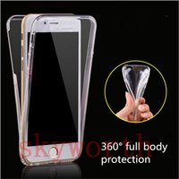 iphone ön derileri toptan satış-Samsung s8 Artı S7 S6 Kenar iphone 7 Artı 6 s 360 Derece Tam Vücut Ön Arka TPU kılıf Şeffaf şeffaf Cilt Kapak