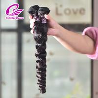 Wholesale human loose curl hair bundles resale online - Real Peruvian Curly Virgin Hair Loose Wave Bundles A Unprocessed Wavy Human Hair Weave Wefts Loose Bouncy Curl for Black Women