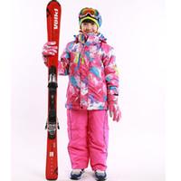 Wholesale Waterproof Jacket Wadded - Wholesale- winter Jacket + Pants 110-164 New Arrival waterproof Outdoor Thicken Ski Suit Set Twinset Wadded Children girl winter snow set