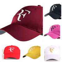 Wholesale racquet racket - 2018 Hot Baseball caps men women Roger Federer RF Hybrid Hat tennis racket hat cap racquet adjustable