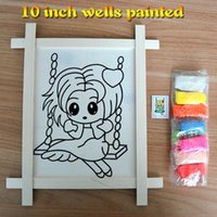 Wholesale Diy Shaft - 10 inch shaft type wooden frame handmade children drawing DIY coloring painting supplies for children learning and education toys