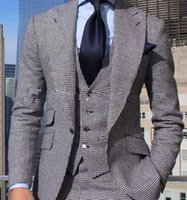 Wholesale Handmade Vests - Groom Wear Handmade 2017 Handsome Two Button Black Groom Tuxedos Groomsmen Men's Wedding Prom Suits Bridegroom (Jacket+Pants+Vest+Tie)