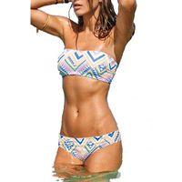 Wholesale Bandeau Push Up Swim - Bikinis Women Swimsuit Push Up Swimwear Women 2017 Sexy Bandeau Print Brazilian Bikini Set Beach Bathing Suit Swim Wear plus XL