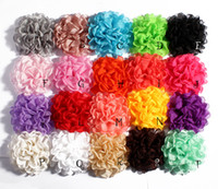 Wholesale Wholesale Fabric Flower Clip Brooch - 4inch 20colors Vintage Burn Eage Chiffon Flowers For Children Hair Clips hairpin Artificial Fabric Flowers Headbands shoe Brooch findings