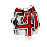 Wholesale Sterling Silver Ribbon Necklaces - Wholesale 30pcs Red Ribbon Gift Box Christmas Silver Enamel Charm Beads Pendant Fit European Pandora Charms Sterling Bracelet & Necklace