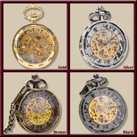 Wholesale Gold Silver Bronze Black Fashion Men Vintage Hand Wind Pocket Watch Antique Cool Mechanical Pocket Watch With Necklace Chain