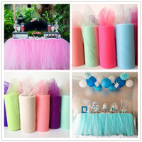 Wholesale red tulle rolls - Fruit Green Yarn Roll Crystal Tulle 22mX15cm Organza Sheer Gauze Element Wedding Table Runner Decoration Baby Shower