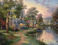 Wholesale Lake Landscapes Paintings - Hometown Lake Thomas Kinkade Oil Paintings Art Wall Modern HD Print On Canvas Decoration No Frame