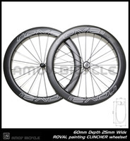 Wholesale Carbon Road Bike Wheels 25mm - Free shipping 25mm width Roval paint 60mm carbon wheelset full carbon 700C road bike bicycle wheelswheels