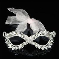 Wholesale Elegant Mardi Gras Masks - Wholesale-2016 Wedding Silver Female Rhinestones Masquerade Mardi Gras Party Elegant Bridal Crystal Mask With Ribbon