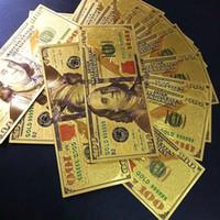 Wholesale Wholesale Plastic Craft Decorations - 24K Gold Foil Dollar $100 Commemorative Banknote New Unique Fashion Souvenir Crafts Money Home Decor Arts Collections Business Gifts