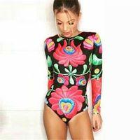 Wholesale Sexy Elastic Jumpsuits - Gagaopt 2016 New Autumn Women Bodysuits Print Flower Sexy Club Jumpsuits Long Sleeve Bodycon Sheath Bodysuit Elastic Heyoungirl