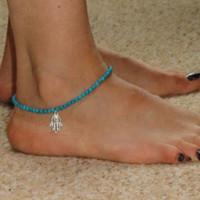 Wholesale Hamsa Hand Bracelet Gold - Women Girls Stylish Hamsa Hand of Fatima Bead Chain Foot Jewelry Anklet Bracelet Barefoot Beach Ankle Elastic Foot Chains Anklets Bracelets