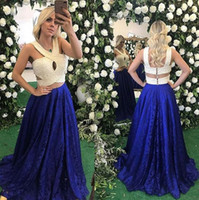 Wholesale Luxurious Halter White Lace - Luxurious Royal Blue Lace Two Pieces Long Prom Dresses With Pearls Button Back Formal Prom Gowns Robe De Bal Party Evening Dresses