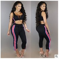 Womens Tracksuit Yoga Bra Lace Up Tank Top Pantalto Running Roupa desportiva Fitness Tights Compression Gym Sportswear Sport Suit 2 Piece Yoga Set