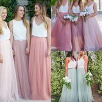Wholesale Light Blouses - Modest Long Bridesmaid Dresses Without Blouse Tulle Skirts Tiered Ruffles Custom Made Floor-Length Cheap Long Bridesmaid Skirts 2017 Elegant