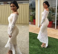 Wholesale Event Jackets - Modest High Low White Lace Arabic Mermaid Evening Event Dresses 2017 Off Shoulder Sheer Long Sleeves Front Short Back Long Cocktail Gowns