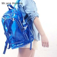 Wholesale Transparent Pvc Fashion Girls - Women Jelly Backpack Summer Candy Transparent Clear Plastic Waterproof Backpack for Teenage Girls PVC School Bags Shoulder Bag