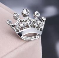 Wholesale Red Heart Rhinestone Brooch - Yiwu Factory Wholesale Fashion Jewelry Zinc Alloy Silver Tone RHINESTONE MINI CROWN Pin BROOCH For Pageant
