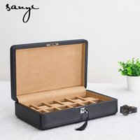 Wholesale Carbon Fiber Storage Boxes - Wholesale- The Export of Carbon Fiber Leather Watch Box Wooden Box 12 Pack Mechanical Table Display Box of Storage Cassette Lock