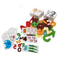 Wholesale Wooden Letters Numbers Learning Card Jigsaw Puzzle Board Kid Early Educational Toys Cartoon Shape Matching Puzzle Toy