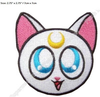 Wholesale Sailor White Uniform - Sailor Moon CAT WHITE Girl Cartoon patches clothes TV MOVIE FILM Series Uniform Cosplay Costume Embroidered Iron On Badge 7cm