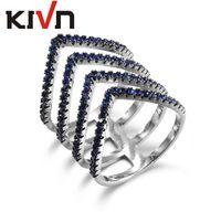 Wholesale Wedding Jewelry Sets Royal Blue - KIVN Fashion Jewelry Blue Elegant Triangle Ring Royal Blue CZ Cubic Zirconia Wedding Bridal Rings for Women Birthday mother gifts