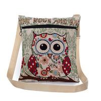Wholesale owl single shoulder handbag - Women cartoon shoulder bags owl embroidery crossbody messenger bags national style lovely handbags wholesale