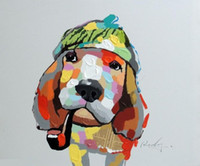 Enmarcado Basset Hound Dog Portrait Mixed Media Pop Art pintura al óleo, pintado a mano puro moderno abstracto Wall Canvas Pictures.Multi size, joh