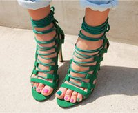 Wholesale sexy shoes small heels - 2017 summer sexy green high heels sandals Cross-tied gladiator customized plus size small size woman shoes for women 10cm lace up