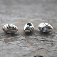 perles à gros trous achat en gros de-12PCS, charme de perle de football, rugby, perle de grand trou de curseur de sports, perle européenne, fournitures de fabrication de bijoux, 14 * 9 * 7MM, trou 4.7MM