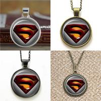 Wholesale earring superman - 10pcs Superman Super Hero Man of Steel Glass Photo Necklace keyring bookmark cufflink earring bracelet