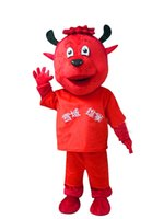 Wholesale Cheap Devil Costumes - Custom red devil cow mascot costume wholesale for adult man anime cartoon AD cheap costumes carnival fancy dress suit 3425