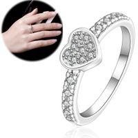 zirkonia edelstein ring großhandel-Shiny Ring 925 Sterling Silber Überzogener Ring Zirkonia Kristall Schmuck Intarsien Edelstein Ring Herzförmige Romantische Geschenke Günstige Schmuck
