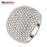Wholesale nobles for sale - LZESHINE Brand Hot Sale Full Clear Drilling Ring Silver Plated Noble Rings for Ladies Party anillos Ri-HQ0043