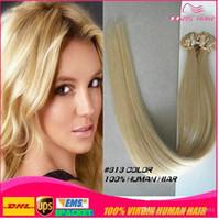 colores de cabello italiano al por mayor-Suave y sedosa 100 g Prebonded Italian Keratin Nail Tip U Fusion Indian Remy Extensiones de cabello humano 100 hilos 16