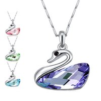 Wholesale pure rhodium jewelry - Green Blue Crystal Swan Pure Love Necklace Silver Chain Pendant Fashion Jewelry for Women Girls Gift DROP SHIP 162328