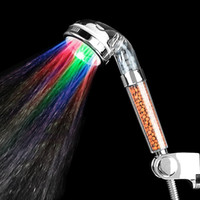 Wholesale Led Shower Head Water Temperature - 23jt2 Colorful Phototherapy Health Care LED Showers Head Negative Ions Pressurized Water Saving Shower Nozzle Temperature Control Hand Held