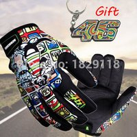 Wholesale Motorcycle Racing Keychain - Wholesale- Print Motorcycle Gloves Motocross Racing Gloves 46 Gloves off-road Protective Glove guantes luva moto 46 keychain key ring