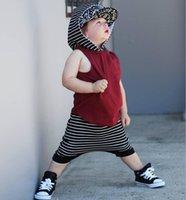 Wholesale Harem Stripes - children fashion clothes sets boys soft cotton hooded vest coat+stripe harem pants 2pcs sets kids casual outfits