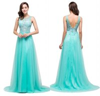 Wholesale Turquoise Cocktail Homecoming Dresses - 2018 Designer Occasion Dresses Cheap Turquoise Lace Tulle Long Prom Gowns Bridesmaid Party Dress Vestidos CPS383