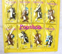 Wholesale Pvc Bag Tags - 3sets (12pcs set) Tom and Jerry Cat and Mouse PVC 3D Keychains Pendants Keyrings Charms Tag Bags Accessories Kids Party Gifts