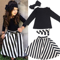 Wholesale Set Children 3pcs Suits Skirt - 2017 Children stripe outfits girls cotton Bow headband+Top+stripe Long skirt 3pcs set baby suits C2136