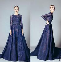 uzun kollu mavi dantelli abiye toptan satış-2017 Ellie Saab Abiye Naby Mavi Ruffles Boncuklu Aplikler Dantel Balo Elbise Uzun Kollu Dubai Arapça Abiye giyim Vestidos