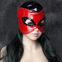 Wholesale Toys For Slaves - Fashion Faux Leather Women Mask Sexy Realistic Slave Bondage Hood Head Hood Adult Sex Dog Mask Black Fetish Erotic Toys Sex Toys