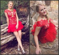 Sexy Red Lace Short Homecoming Dresses 2017 vestidos de noiva Custom made Appliques Party Gowns V Шея Cap Sleeves Вечерняя мантия выпускного вечера