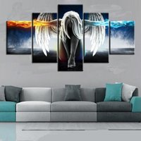 Wholesale Oil Painting Calligraphy - Oil Painting 5 Pieces set Angel Demons Wing Printed Canvas Anime Room Printing Wall Art Paint Decoration Decorative Picture Home Decor