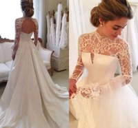 Wholesale Hollow Back Wedding - New 2017 Elegant A Line Wedding Dresses High Neck Lace Appliques Illusion Long Sleeves Satin Hollow Back Long Custom Wedding Bridal Gowns